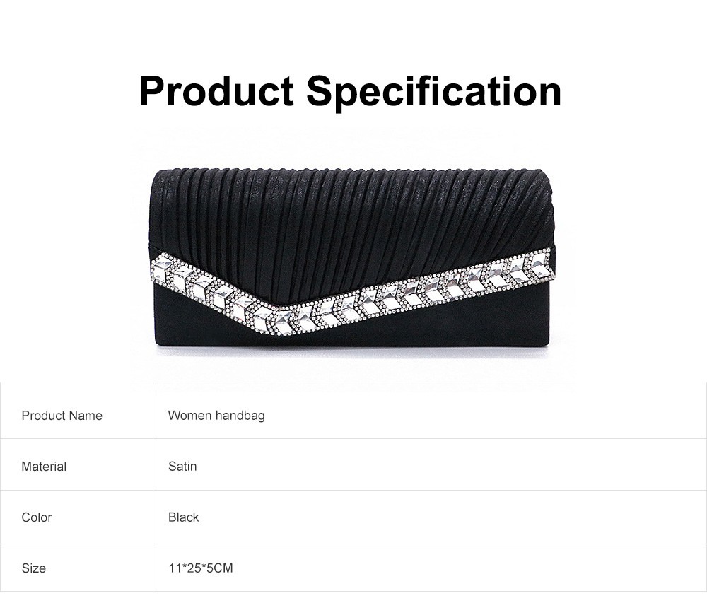 Women Clutch for Wedding Birthday Party, Elegant Long Purse with Diamond Decoration, Elegant Shoulder Bag with Magnetic Snap Detachable Chain  6