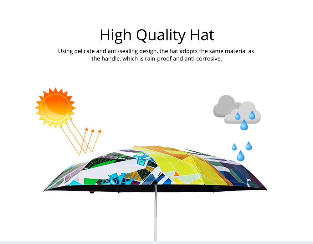 Collapsible Mini Flat Umbrella with High-Tech Layer Pattern Stylish Sun Rain Umbrella for Travel, Outdoors 6