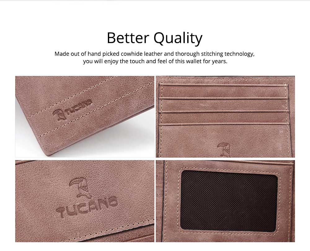 Cow Leather Minimalist Wallet for Men, Fashionable Cross Grain Wallet, Bifold Slim Wallets for Trip Travel Daily Use 3
