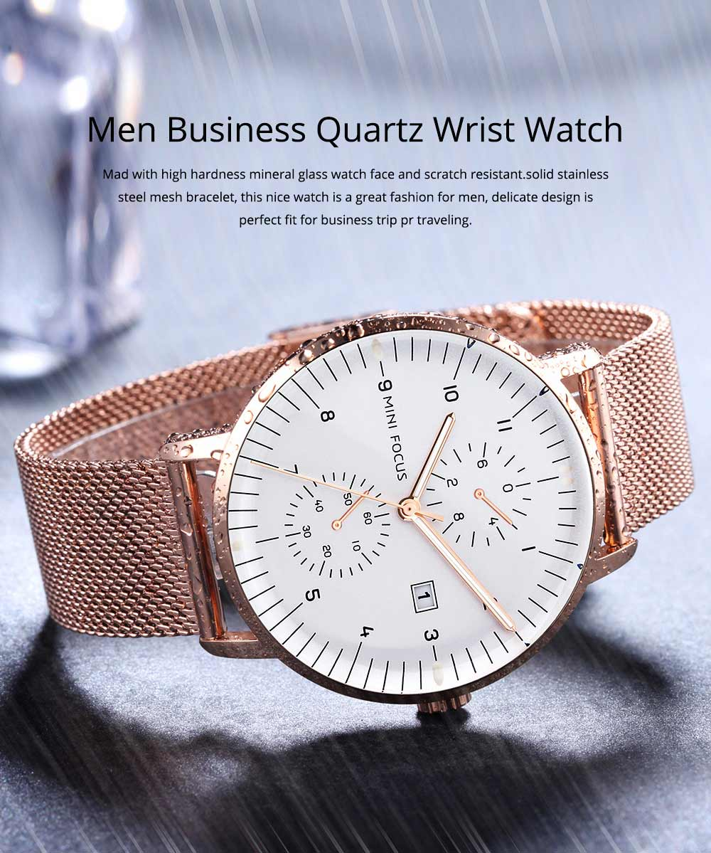 Men Business Quartz Wrist Watch, Fashionable Casual Sport Watch Waterproof Calendar Date Watches with Delicate Milanese Loop Strap 0