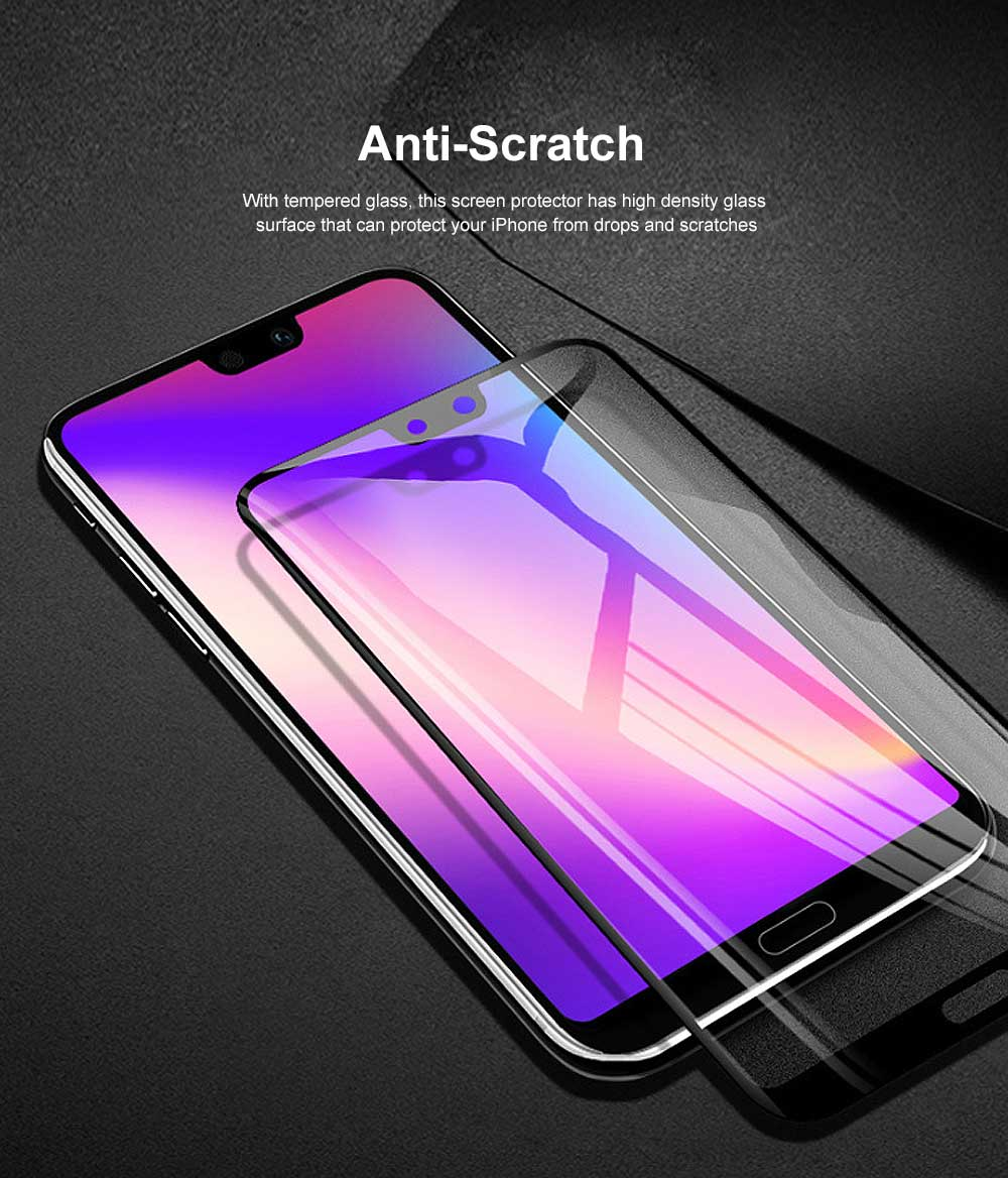 Tempered Glass Screen Protector Full Screen Coverage, Anti-Fingerprint Bubble Free Protector for iPhone X or XS, iPhone XR, iPhone XS Max, iPhone7 or 8, iPhone 7 or 8 plus, iPhone 6 or 6S, iPhone 6S plus 5