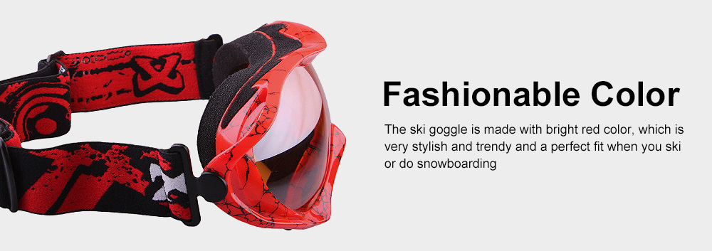 Stylish Ski Goggle with Double Lens PC Lens, Anti-wind Anti-fog Eye Protection Snowboarding Goggle 3