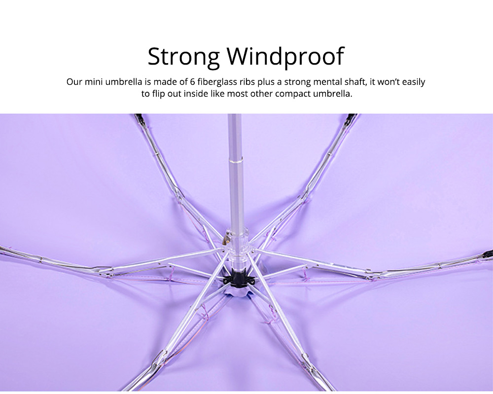 Mini Sun Umbrella with 5 Folds, UV Protection Sun Umbrella with Flat Handle, Windproof Construction Design Umbrella 5
