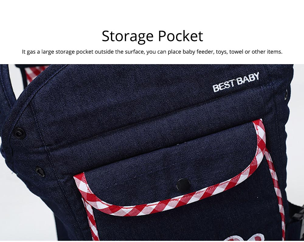 Portable Baby Waist Belt, Multifunctional Baby Carrier with Comfortable Back Pad Baby Carrying Strap 4
