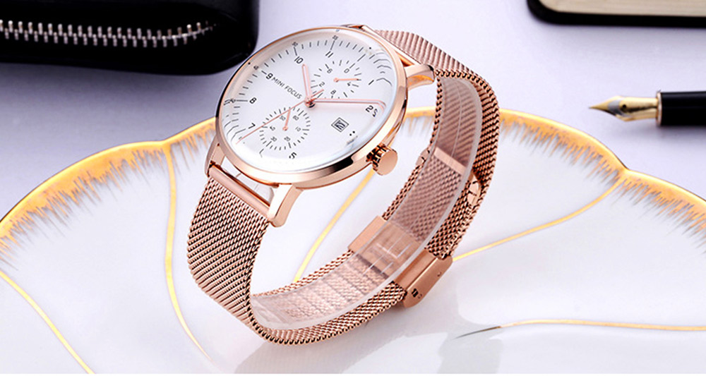 Men Business Quartz Wrist Watch, Fashionable Casual Sport Watch Waterproof Calendar Date Watches with Delicate Milanese Loop Strap 4