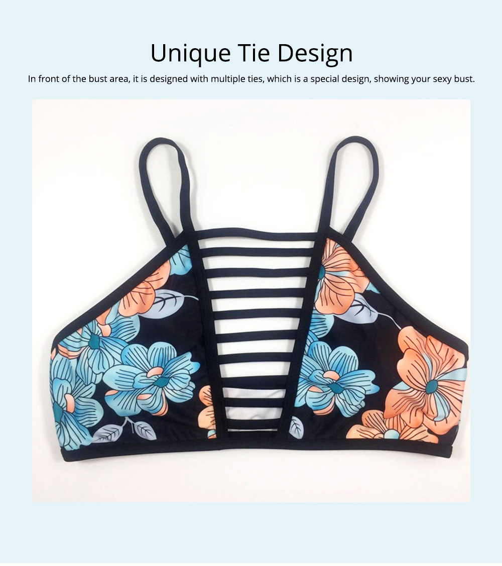 Women Bikini with Retro Halter Neck, Two Piece Swimsuit with Adjustable Bottom Tie Stylish Bikini 5