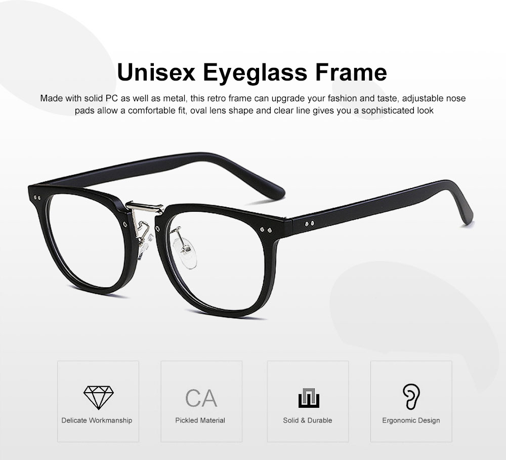 Oval Round Metal Eyeglasses Frame, Unisex Retro Glasses with Clear Replaceable Lens Spectacles 0