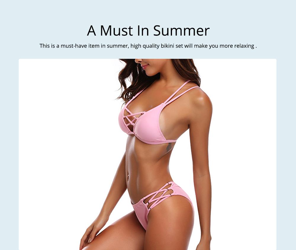 Women's Sexy Bikini with Detachable Padded Cutout Bikini Set Two Piece Swimsuit with Special Top & Bottom Ties Swimwear 4