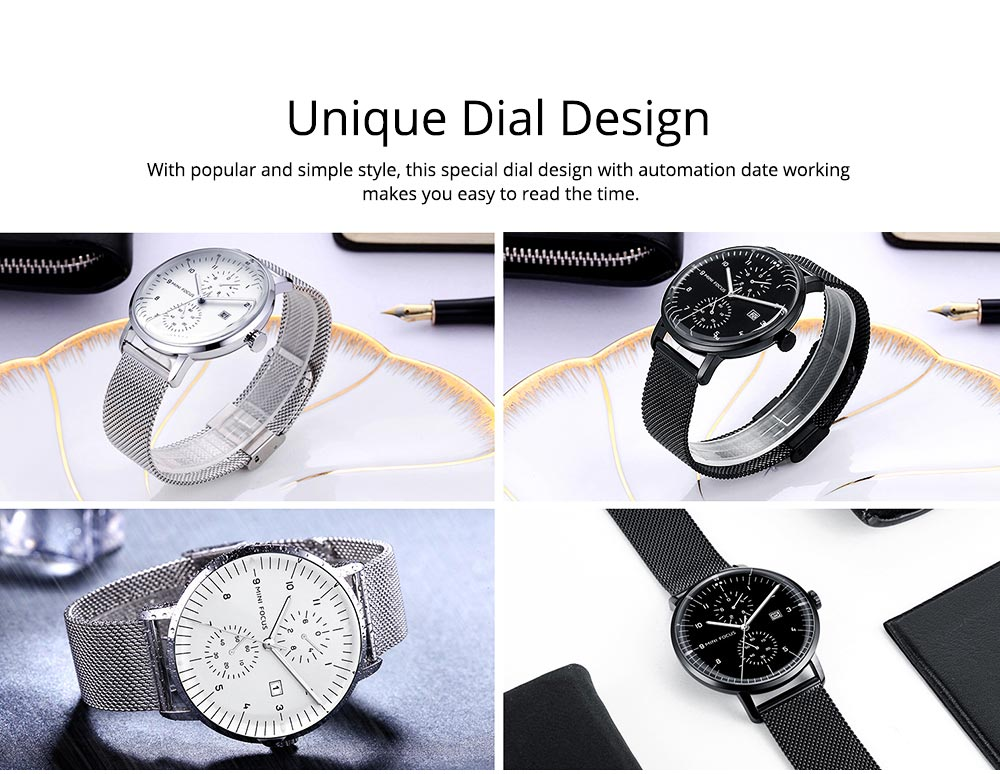 Men Business Quartz Wrist Watch, Fashionable Casual Sport Watch Waterproof Calendar Date Watches with Delicate Milanese Loop Strap 5