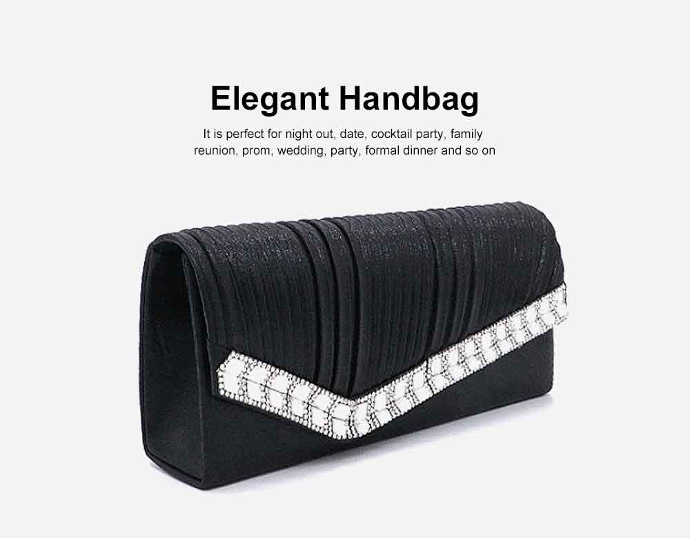 Women Clutch for Wedding Birthday Party, Elegant Long Purse with Diamond Decoration, Elegant Shoulder Bag with Magnetic Snap Detachable Chain  1