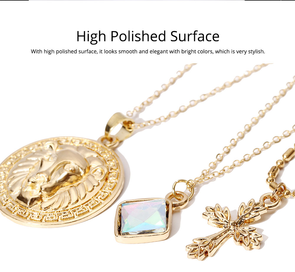 Gold Cross Pendant Necklace, Fashionable Gold Plated Choker Vintage Layered Necklace for Women 2019 2