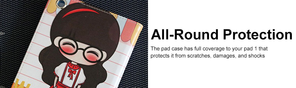 Universal Tablet Case PU Leather Full Protection Flip Cover with Cute Pattern Compatible for Xiaomi Mi Pad 1 4