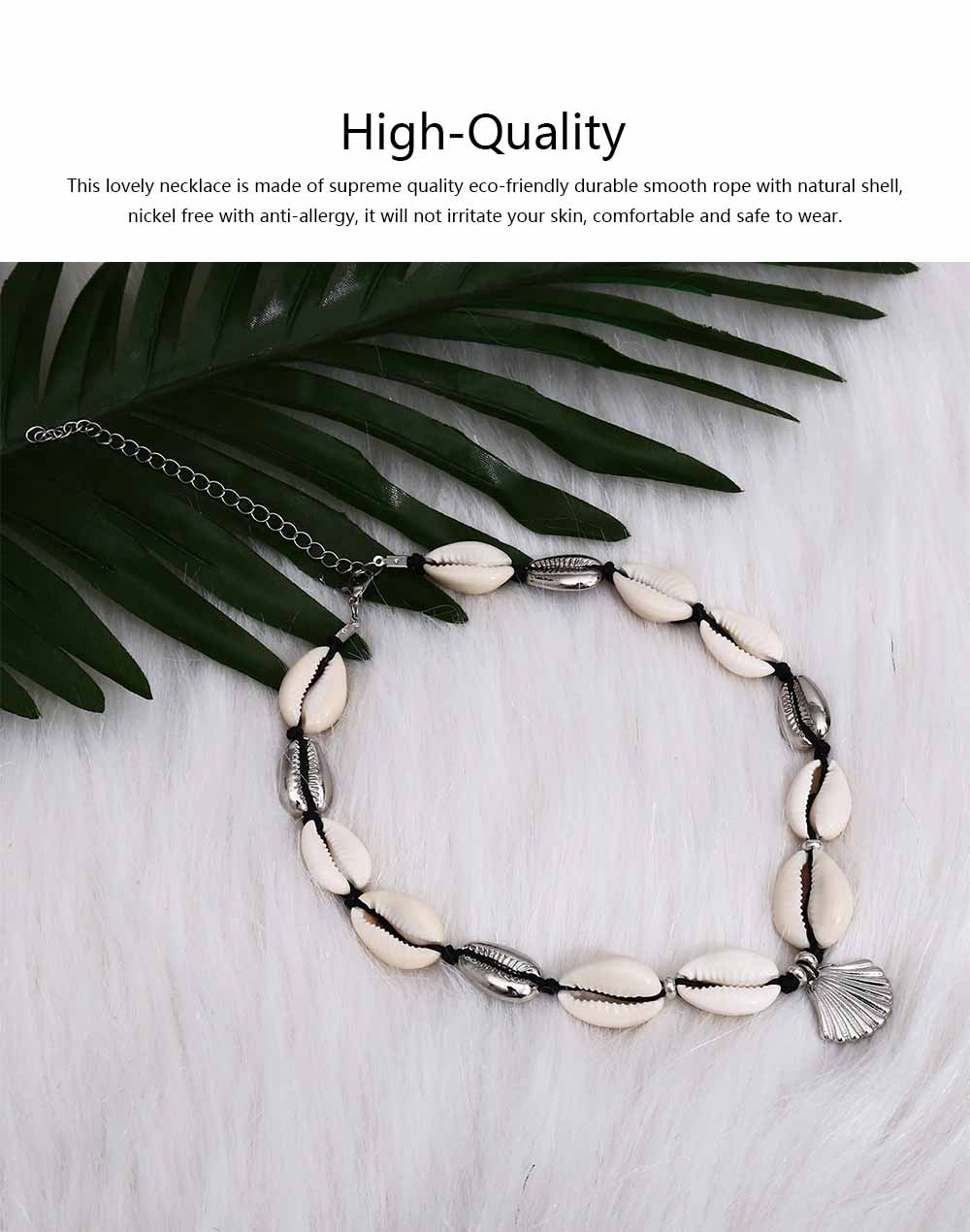 Handmade Shell Necklace Clavicle Chain for Women, Natural Shell Necklace Bracelet Cowrie Choker Collarbone Chain, Adjustable Trible Charms Jewelry 2
