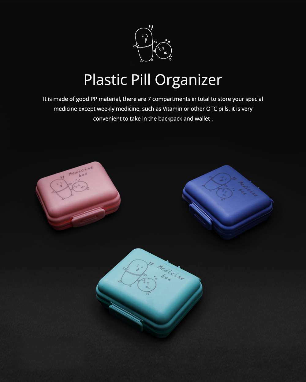 Cute Pill Box Portable 7 Compartments Medicine, Vitamin Plastic Pill Organizer BPA Free for Kids, Elderly 0