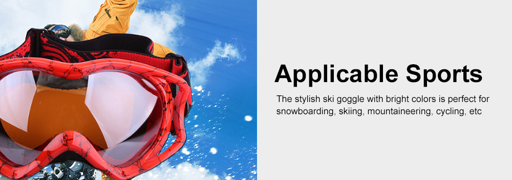 Stylish Ski Goggle with Double Lens PC Lens, Anti-wind Anti-fog Eye Protection Snowboarding Goggle 5