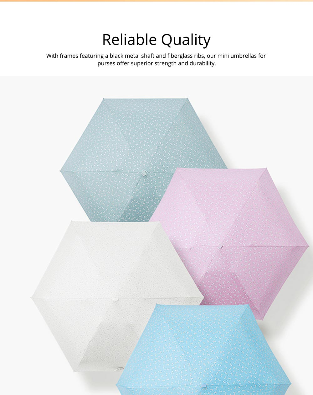 Mini Umbrella with Waterproof Case, Compact Umbrella Folding Pocket Umbrella Perfect for Outdoors 1