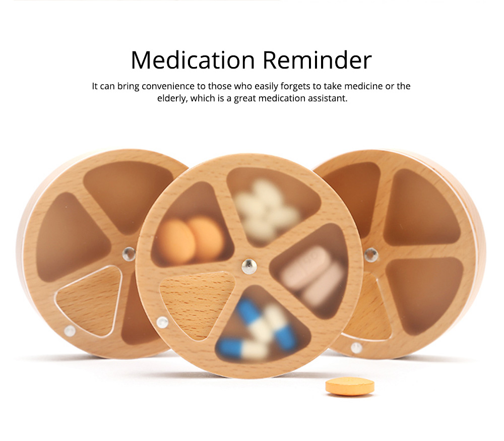 Wooden Pill Box with Beech Acrylic Sealed, Portable Pill Organizer with Compartments Domestic Use Pill Storage Case 6