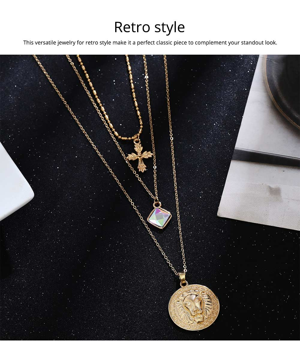 Gold Cross Pendant Necklace, Fashionable Gold Plated Choker Vintage Layered Necklace for Women 2019 3