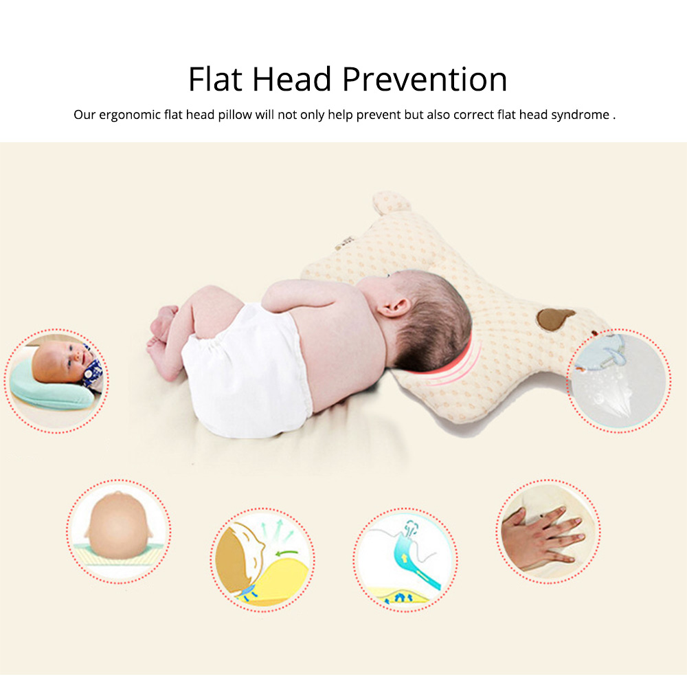 Newborn Baby Pillow, Breathable Organic Cotton Protection Pillow Prevent Flat Head Syndrome Baby Pillow 1