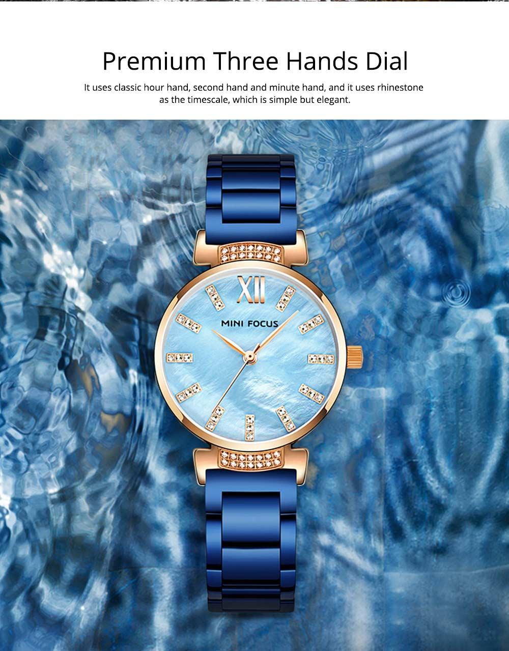 Diamond-mounted Fritillaria Watch for Women, Girls, Stylish Watch with Stainless Steel Watchband Waterproof 30M Wristwatch 2