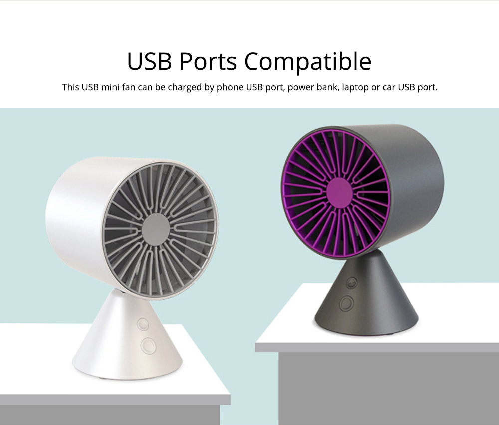 Rechargeable Battery USB Fan, Strong Wind Quiet Fan, Small Desk Fan for Home Office Travel Camping 2