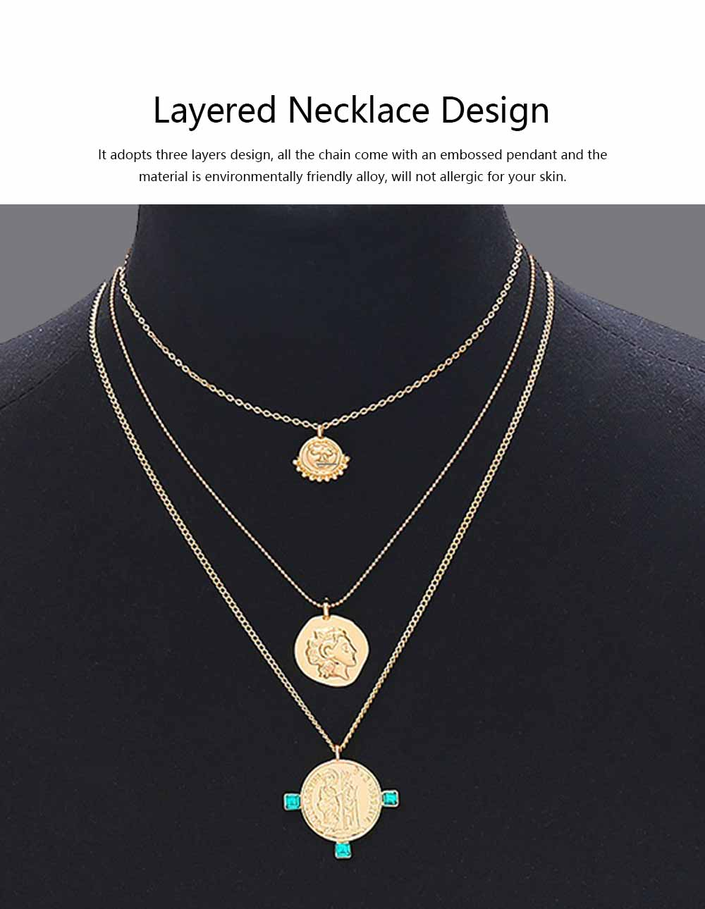 Retro Portrait Item Sweater Chain for Women, Multilayer Personality Pendant Necklace, Gold Silver Long Chain Necklace for Girls 2