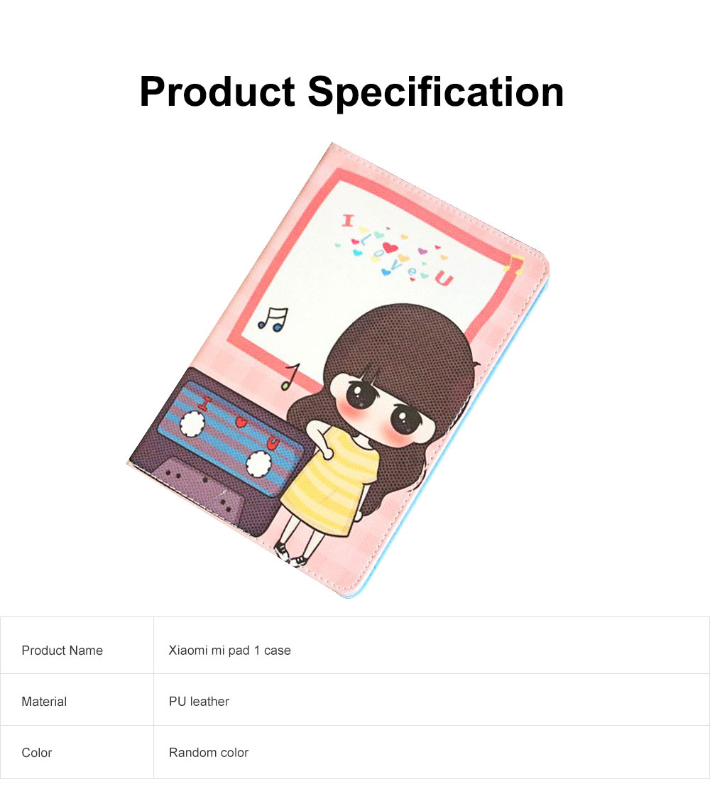 Universal Tablet Case PU Leather Full Protection Flip Cover with Cute Pattern Compatible for Xiaomi Mi Pad 1 6