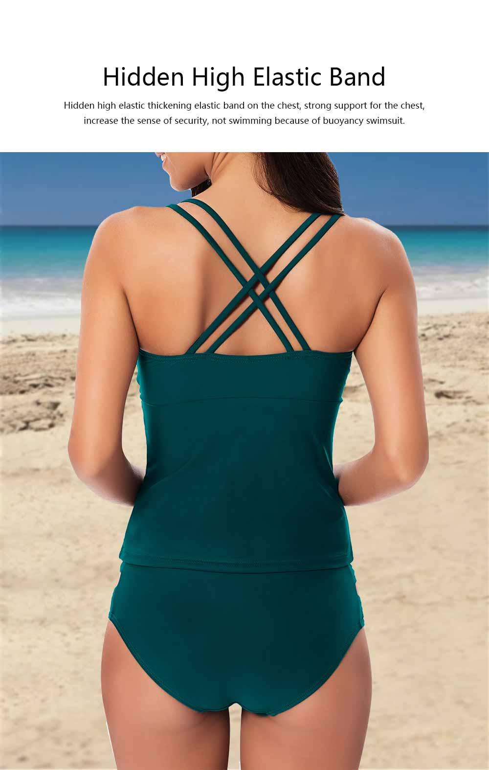 Women Cross Straps Bikini, Removeable Soft Cup Bikini, High Elastic Two Piece Swimming Suits for Ladies Girls 5
