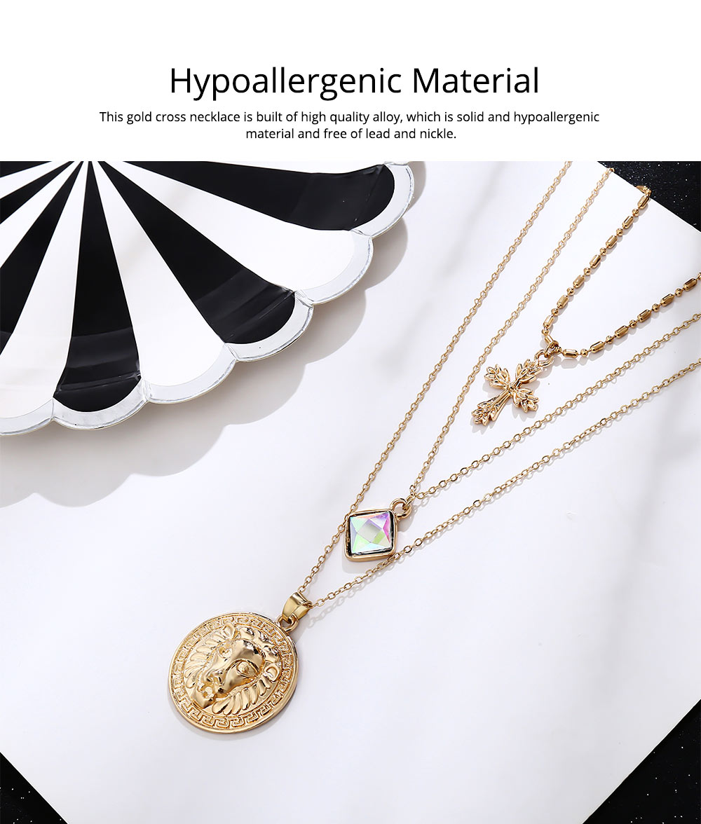 Gold Cross Pendant Necklace, Fashionable Gold Plated Choker Vintage Layered Necklace for Women 2019 1
