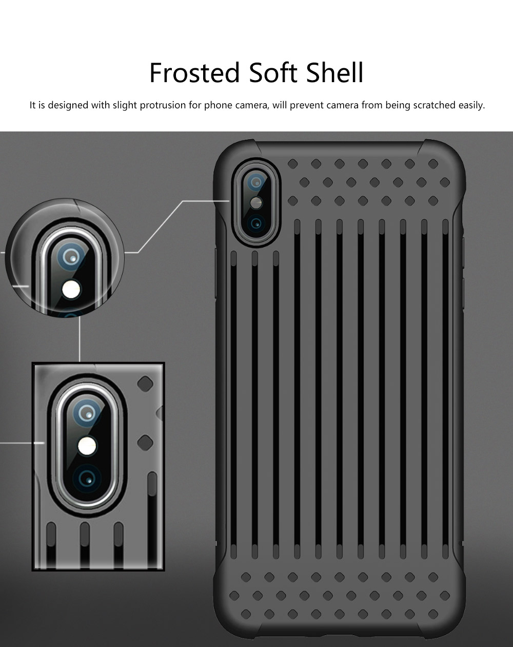 Stripe Phone Protective Case, Anti-fall Back Cover Anti-Scratch Shell for iPhone X, XS with Venting Holes 4