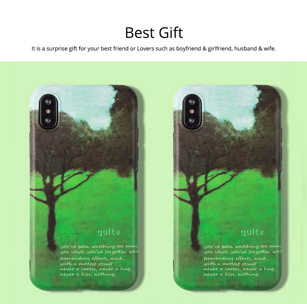Green Tree Painting Phone Back Cover, Slim Bumper Phone Case for iPhone 6 6s, iPhone 6 plus 6 plus, iPhone 7 8, iPhone X XS, iPhone XS Max, iPhone XR 7