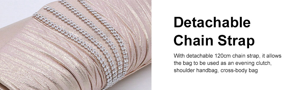 Shiny Clutch for Wedding Evening Party, Elegant Clutch with Chain for Ladies, Girls Shoulder Bag 2