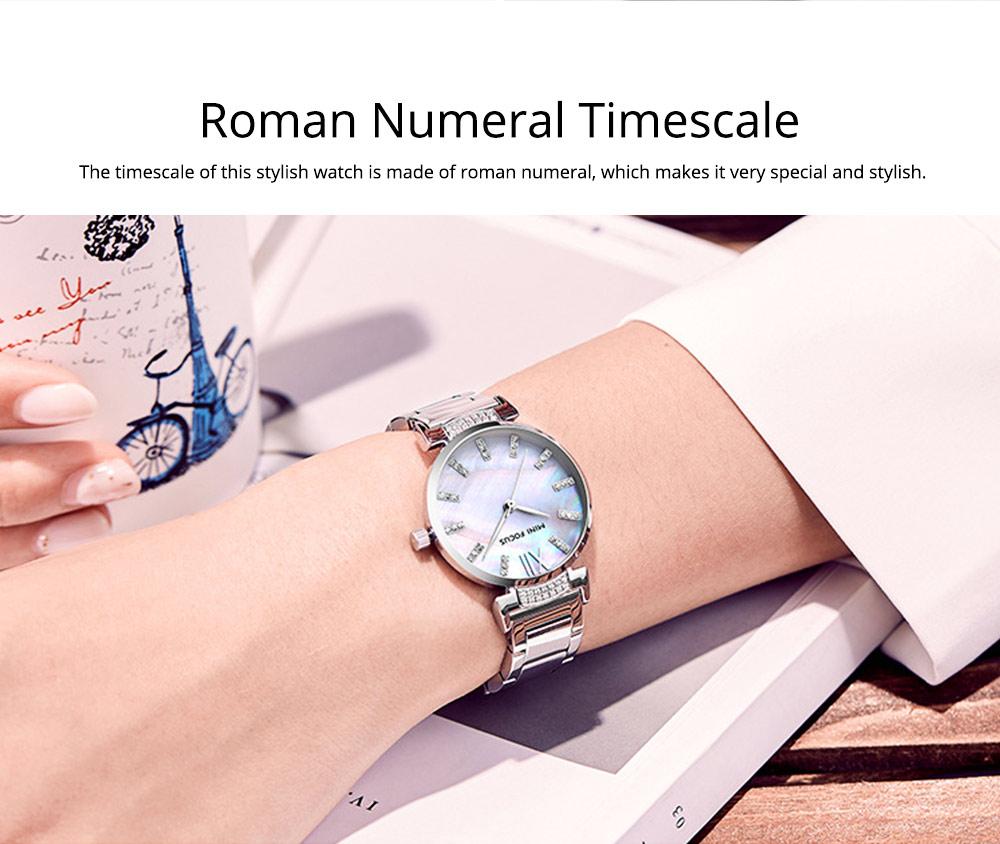 Diamond-mounted Fritillaria Watch for Women, Girls, Stylish Watch with Stainless Steel Watchband Waterproof 30M Wristwatch 7