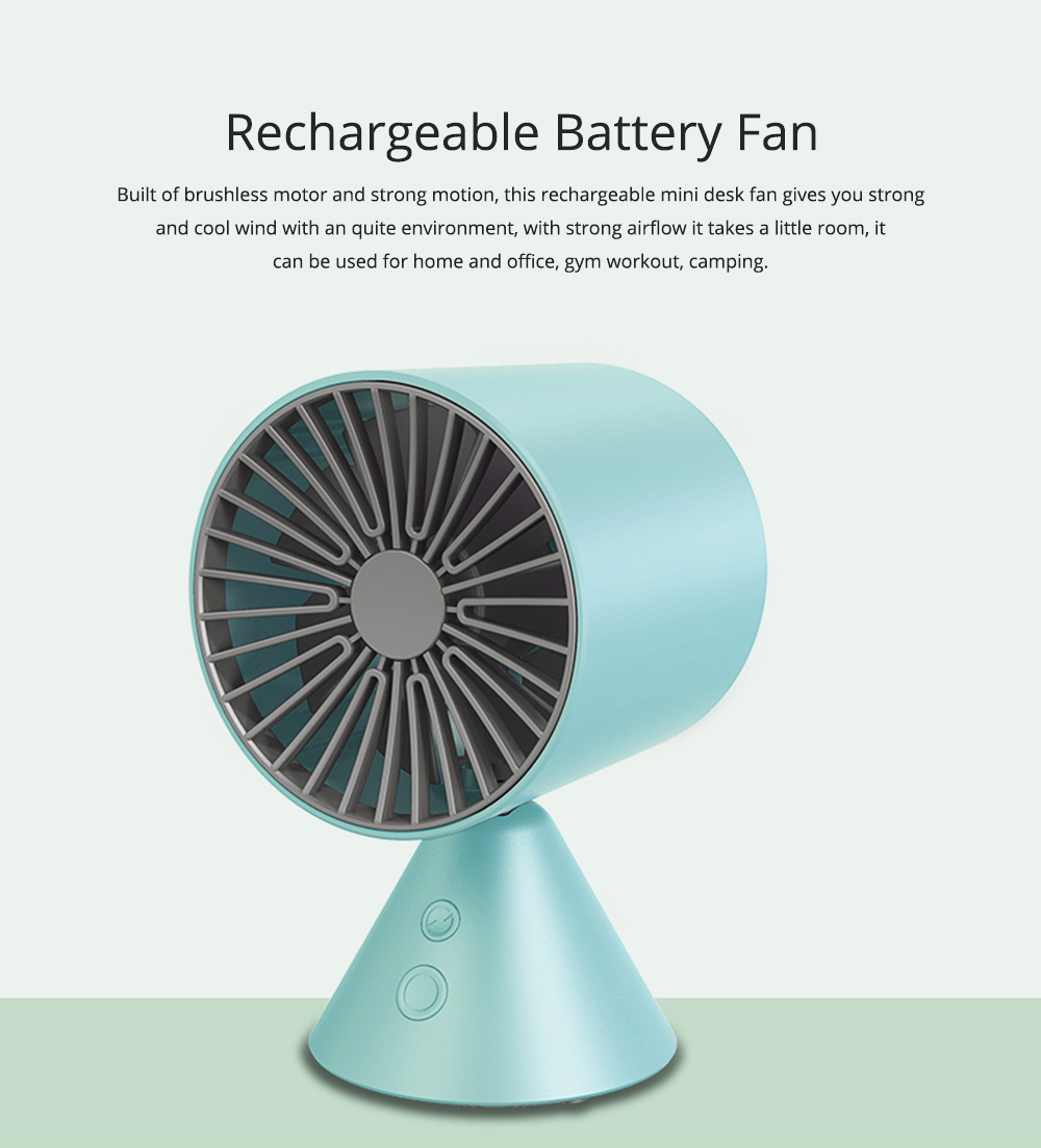 Rechargeable Battery USB Fan, Strong Wind Quiet Fan, Small Desk Fan for Home Office Travel Camping 0