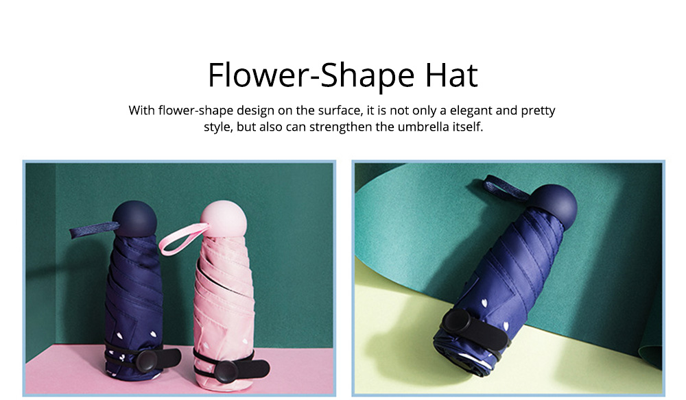 New Mini Super Light Five Folds Umbrella with Cherry Pattern Foldable Sun Protection Parasol Umbrella 4