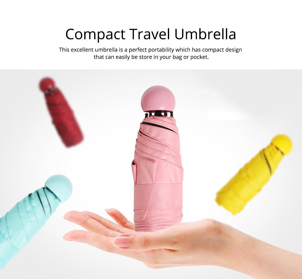 Mini Travel Umbrella for Sunny Day Rainy Day, Anti-UV Sun Umbrella with Cute Capsule Case Ultra Lightweight Umbrella 1