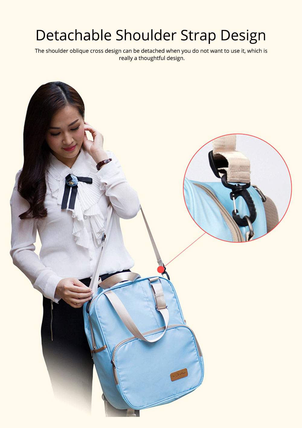 Diaper Backpack witg Large Capacity Mammy Bag, Multifunctional Travel Nappy Bag Fashionable Mommy Bag 8