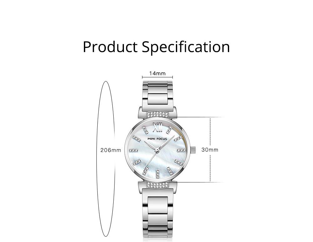 Diamond-mounted Fritillaria Watch for Women, Girls, Stylish Watch with Stainless Steel Watchband Waterproof 30M Wristwatch 9
