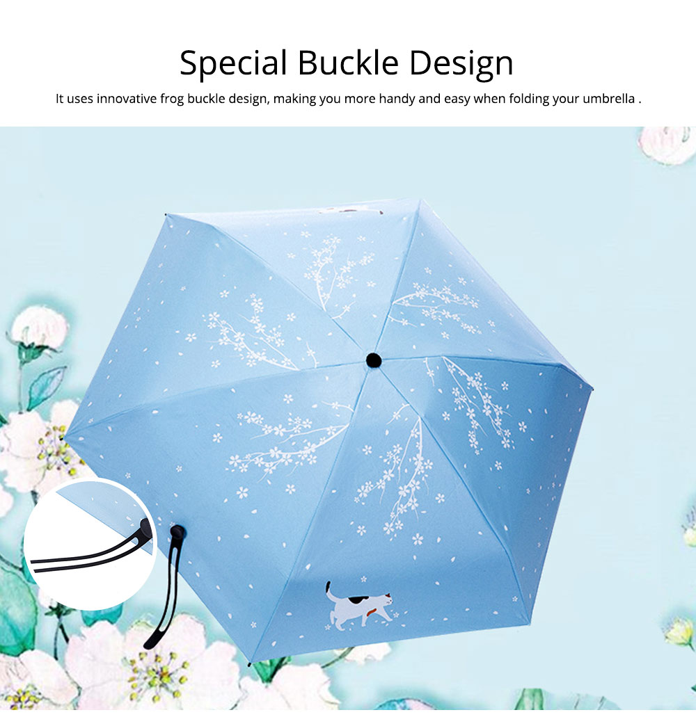 New Mini Super Light Five Folds Umbrella with Cherry Pattern Foldable Sun Protection Parasol Umbrella 3