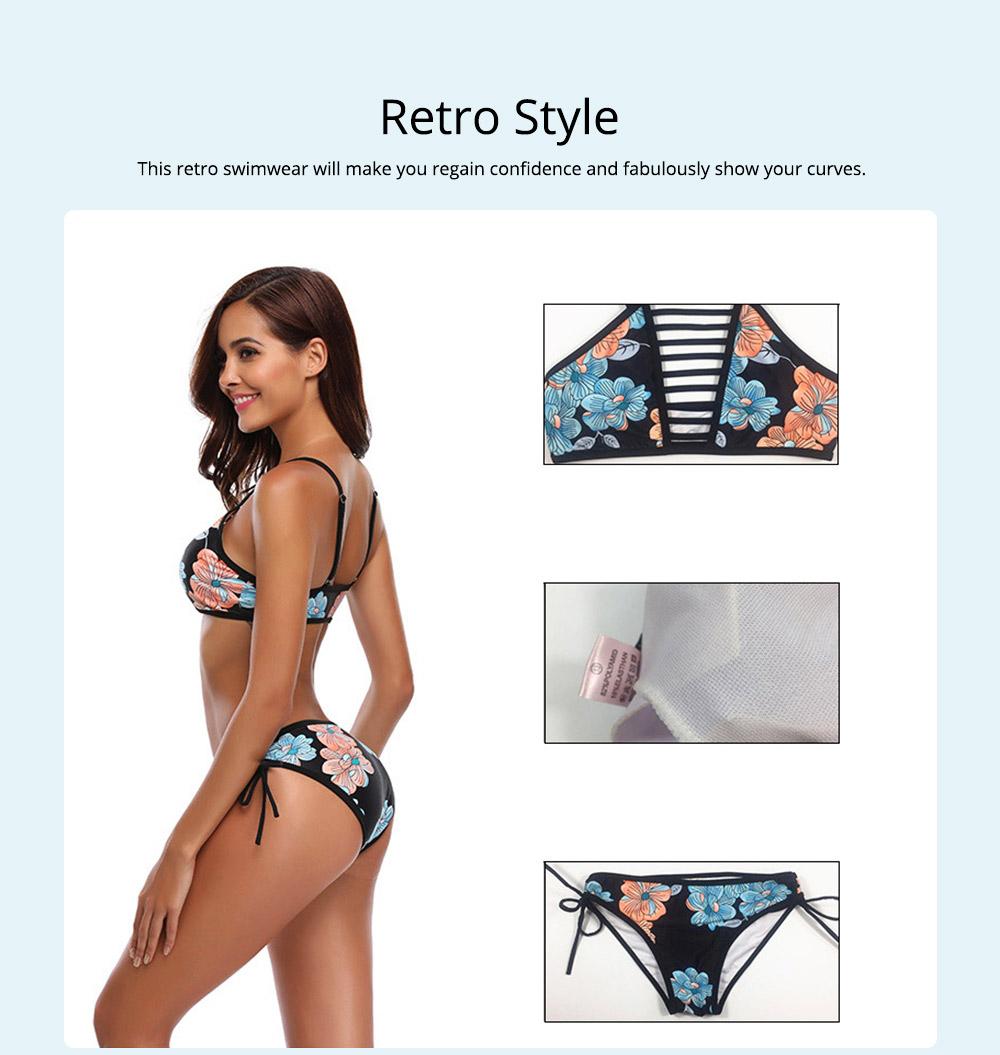 Women Bikini with Retro Halter Neck, Two Piece Swimsuit with Adjustable Bottom Tie Stylish Bikini 1