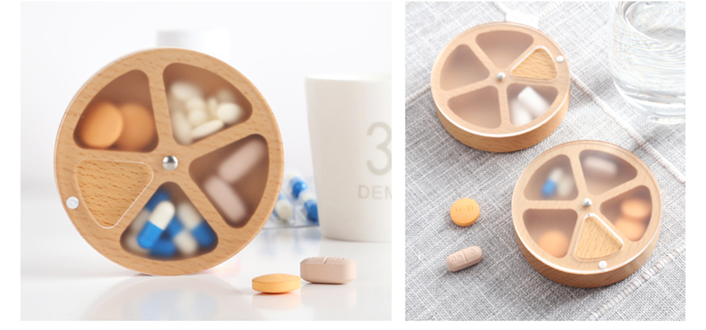 Wooden Pill Box with Beech Acrylic Sealed, Portable Pill Organizer with Compartments Domestic Use Pill Storage Case 10