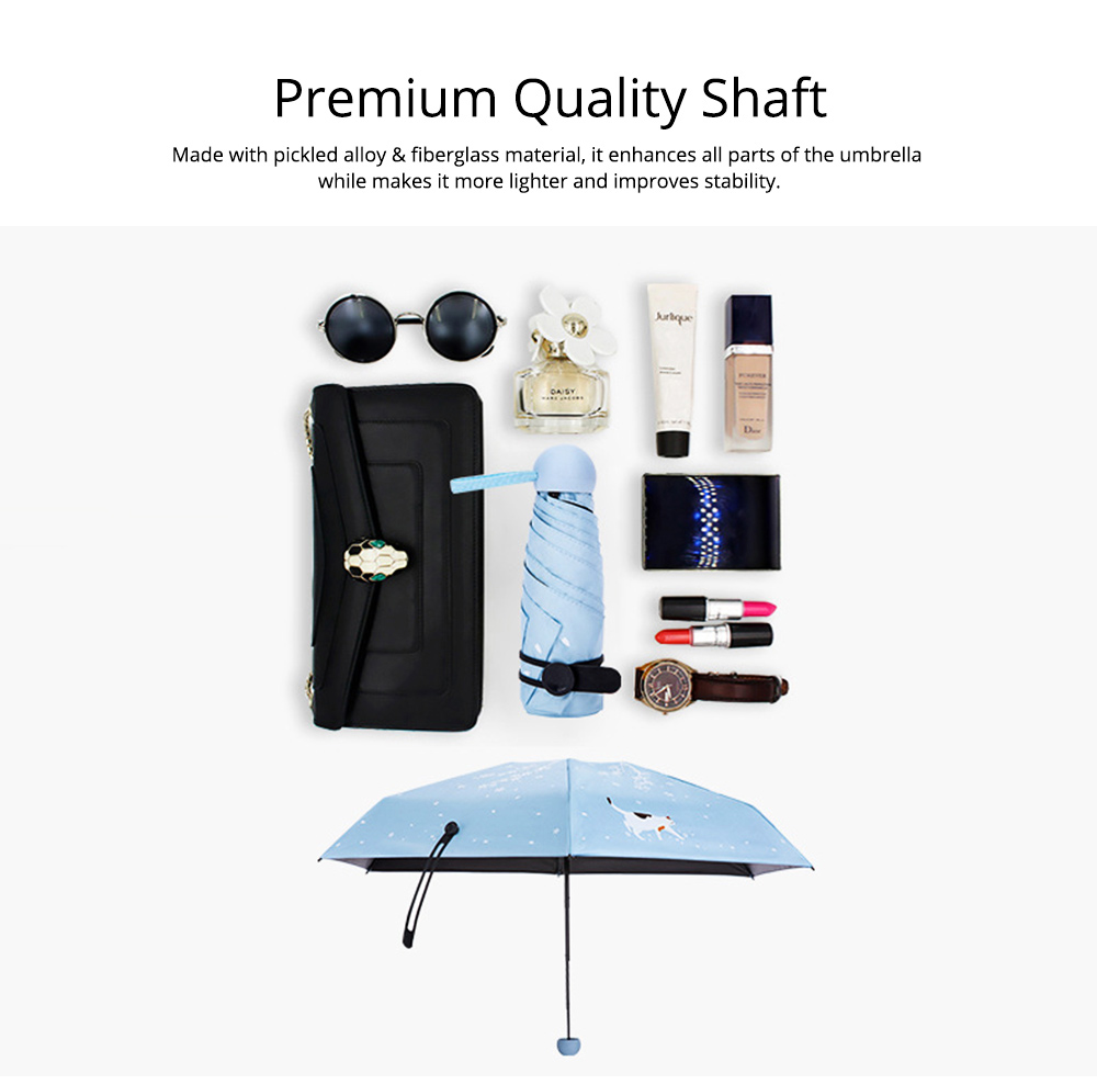 New Mini Super Light Five Folds Umbrella with Cherry Pattern Foldable Sun Protection Parasol Umbrella 7