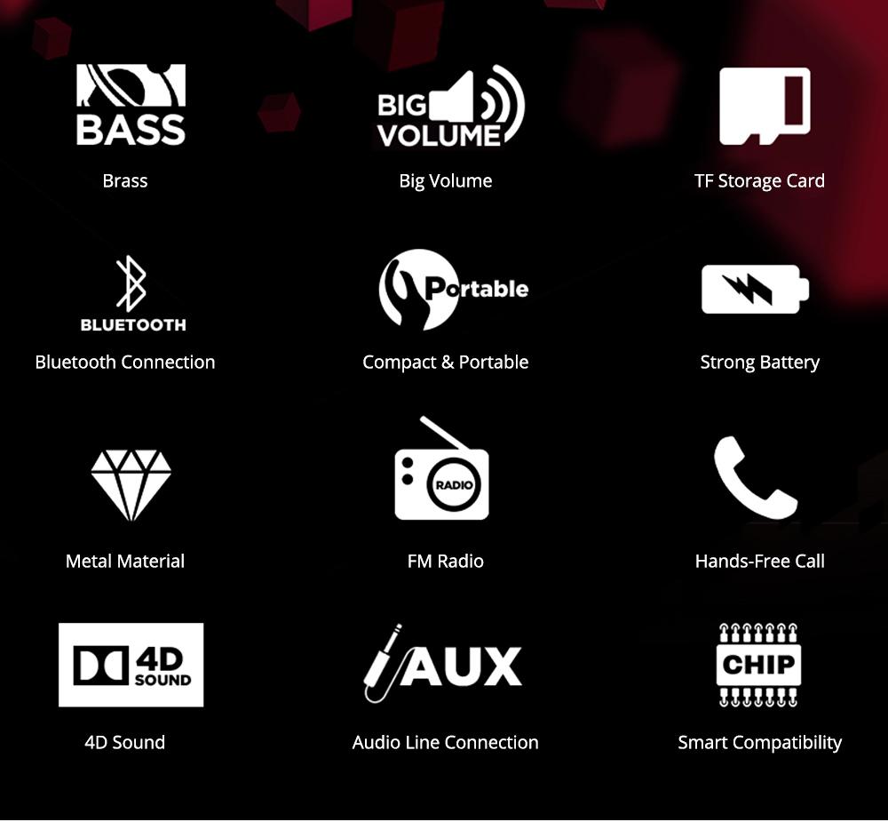 Wireless Mini Bluetooth Speaker, Brass Large Volume Speaker with Hand-Free Call Portable Speaker 1