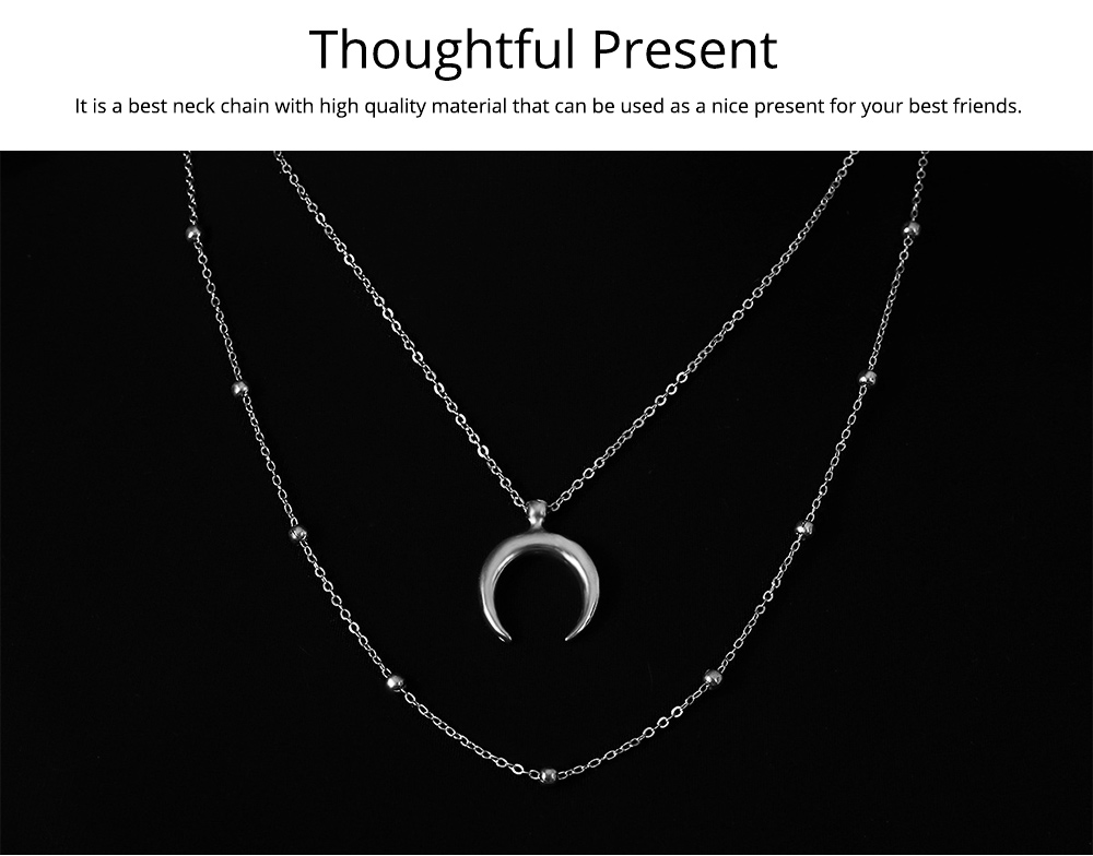 Layered Choker Necklace Pendant Open Circle Crescent Moon Charming Pendant Neck Chain for Women 5