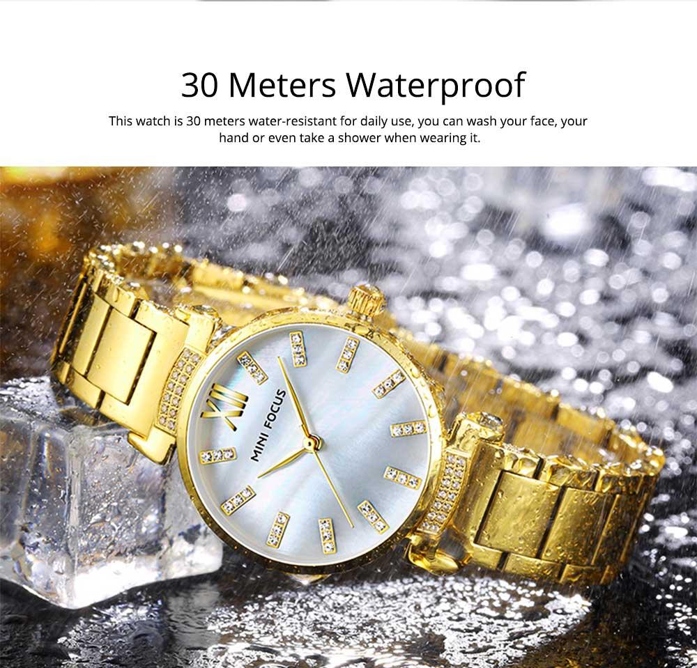 Diamond-mounted Fritillaria Watch for Women, Girls, Stylish Watch with Stainless Steel Watchband Waterproof 30M Wristwatch 1
