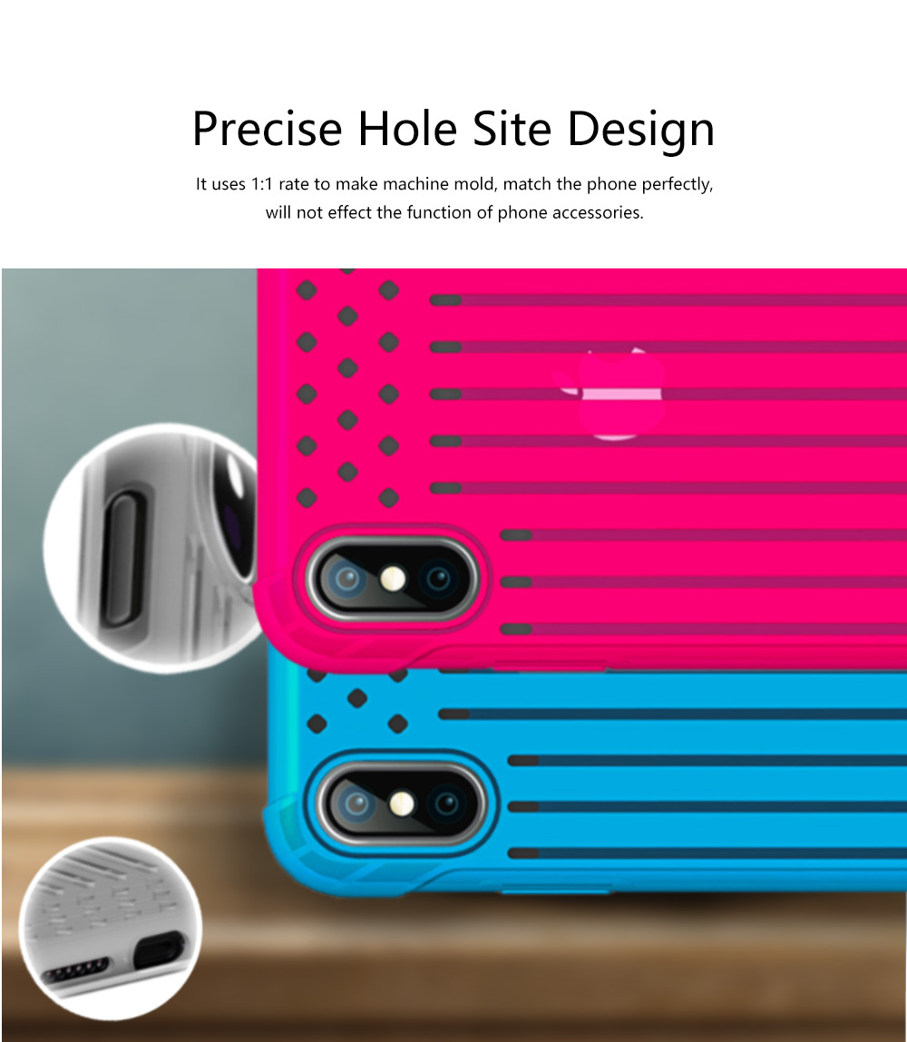 Stripe Phone Protective Case, Anti-fall Back Cover Anti-Scratch Shell for iPhone X, XS with Venting Holes 3