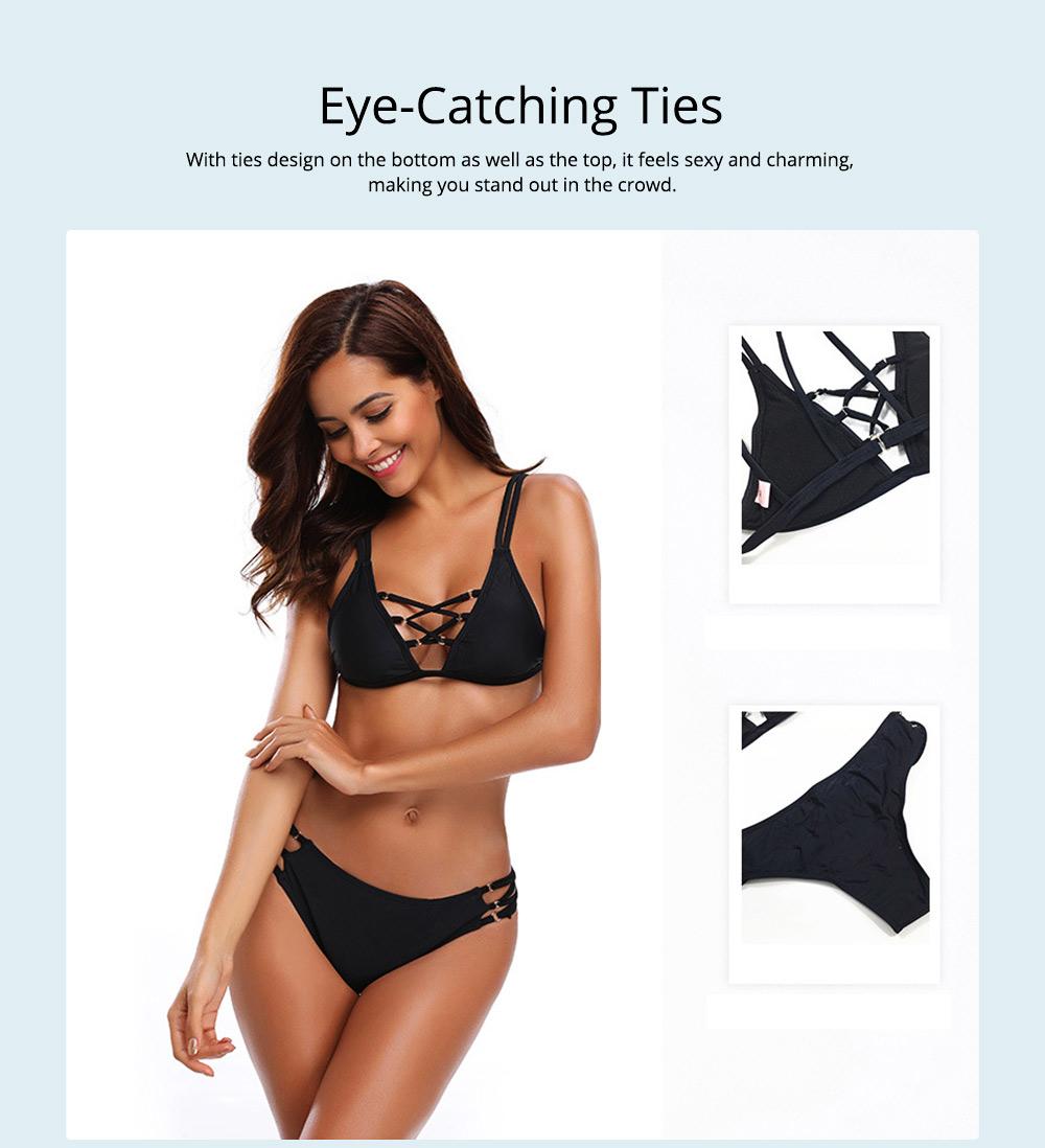 Women's Sexy Bikini with Detachable Padded Cutout Bikini Set Two Piece Swimsuit with Special Top & Bottom Ties Swimwear 2