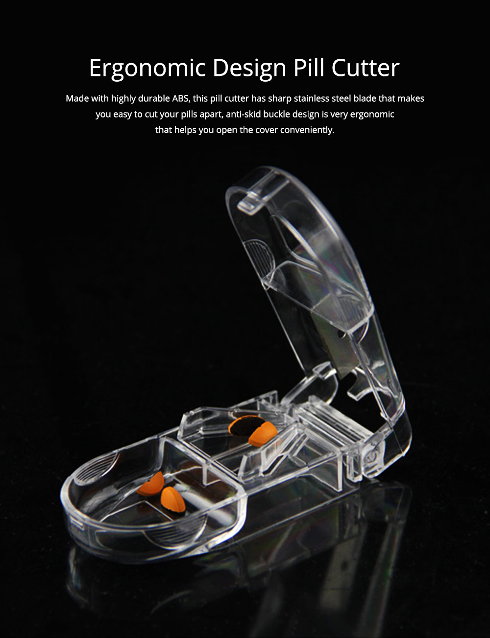 Pill Cutter with Ergonomic Design Transparent Pill Splitter with Stainless Steel for Accurate Cutting 0