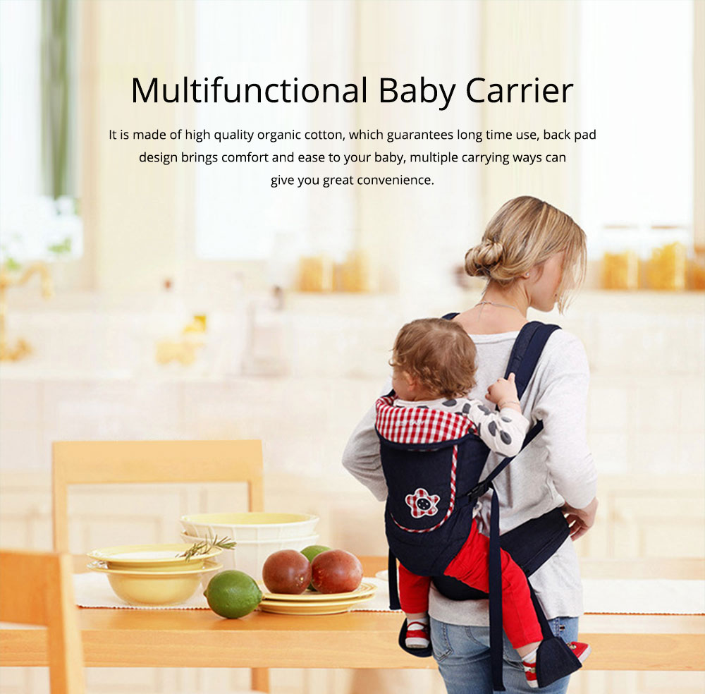 Portable Baby Waist Belt, Multifunctional Baby Carrier with Comfortable Back Pad Baby Carrying Strap 0