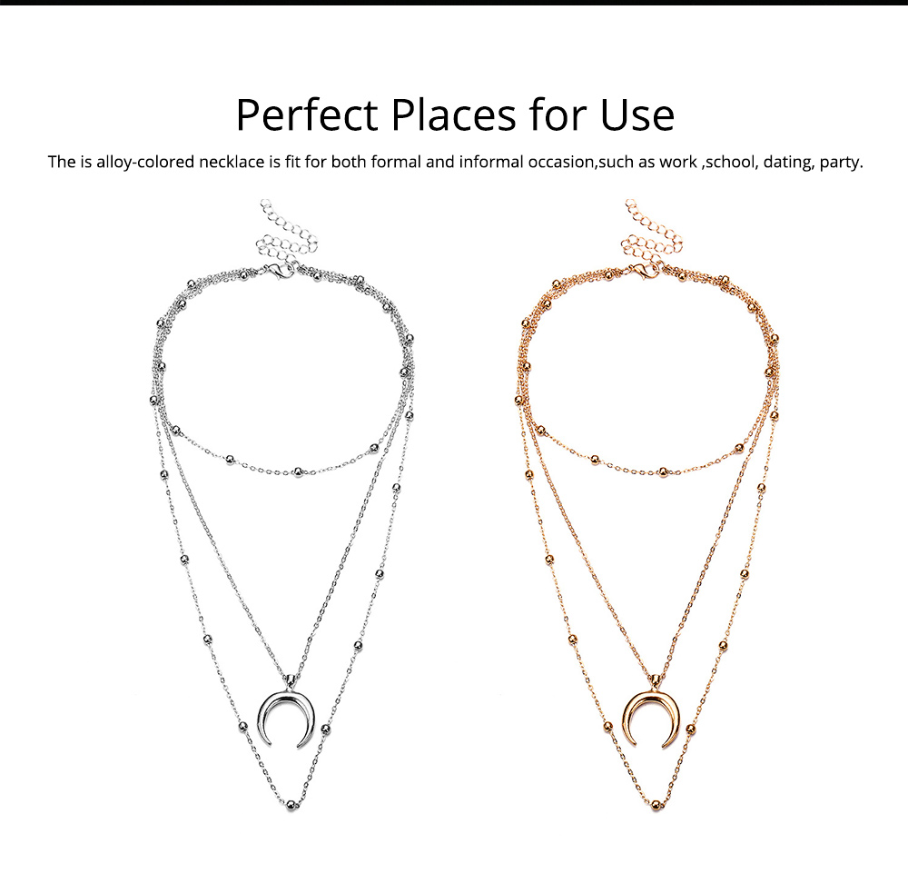 Layered Choker Necklace Pendant Open Circle Crescent Moon Charming Pendant Neck Chain for Women 4